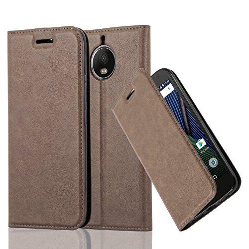 Cadorabo Hülle für Motorola Moto G5S Plus - Hülle in Kaffee BRAUN – Handyhülle mit Magnetverschluss, Standfunktion & Kartenfach - Hülle Cover Schutzhülle Etui Tasche Book Klapp Style