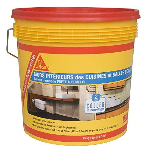 SikaCeram Cuisine et Bain, Colle àcarrelage en pâte - facilité de pose murale (D2-ET), 15kg, Blanc