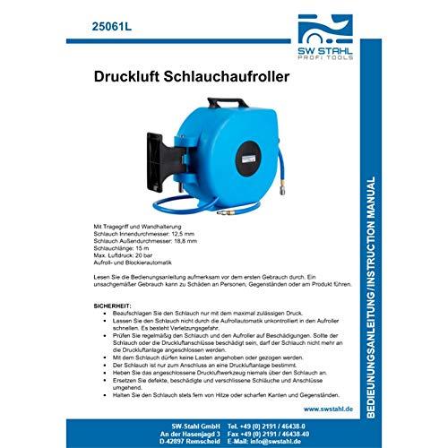 SW-Stahl 25061L Druckluftschlauch Aufroller I 15 Meter I 1/4 Zoll I Innendurchmesser 12,5 mm