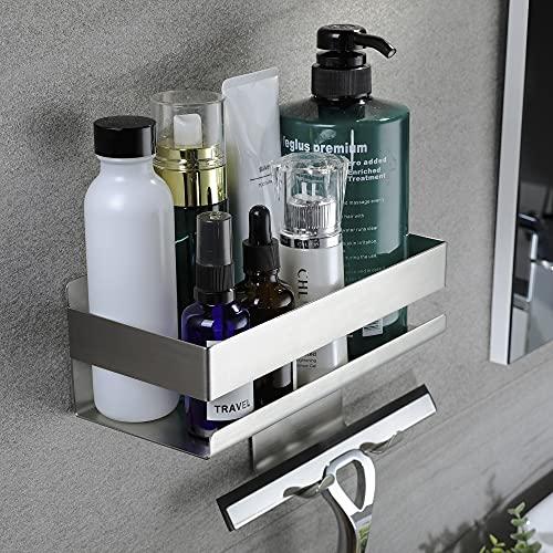 Deprik Duschablage - ohne Bohren Duschregal mit Haken Selbstklebend Duschkorb für Badezimmer, Edelstahl Gebürstet