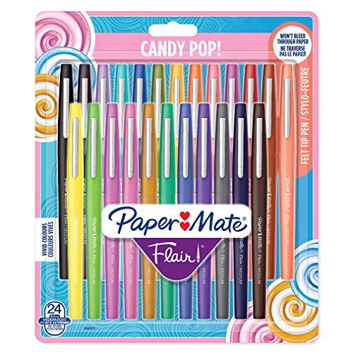 Paper Mate Flair Feutres de Coloriage Candy Pop, Pointe Moyenne (0,7 Mm), Assortiment de Couleurs, Lot de 24