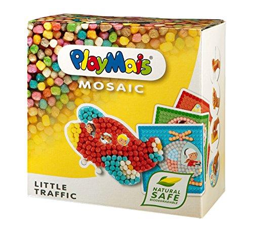 PlayMais Mosaic Little Traffic Kreativ-Set zum Basteln für Kinder ab 3 Jahren | Über 2.300 6 Mosaik Klebebilder mit Fahrzeugen | Fördert Kreativität & Feinmotorik | Natürliches Spielzeug