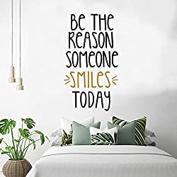 Inspirational Wall Quotes Decals, Motivational Wall Decal, Inspirational Wall Stickers, Encouragement Stickers, Be The Reason Someone Smiles Today, DIY Decorations for Bedroom Girls Room Classroom Decor