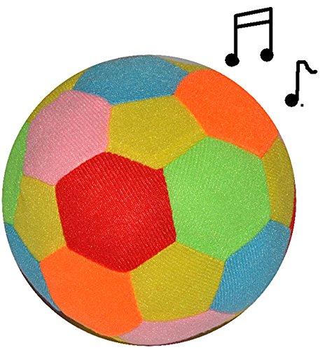 alles-meine.de GmbH großer bunter Softball / Stoffball - mit Rassel -  lustiger bunter Ball  - Ø 14 cm - Veloursball - Rasselball - Fitnessball Knautsch / Stressball für - Kind..
