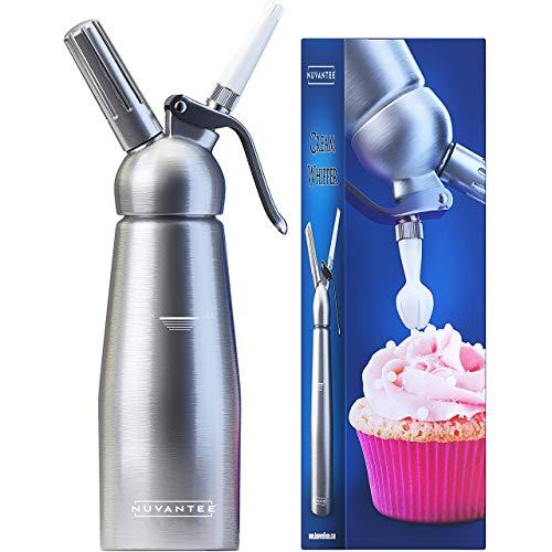 Nuvantee Sifone da Cucina - Dispenser Monta Panna Professionale con 3 Ugelli - Cartucce N20 - Montapanna in Acciaio Inox, 500ml - Accessori per Whip Cream