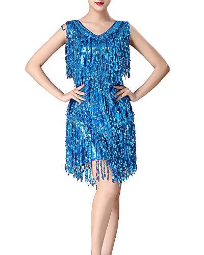 Mengmiao Damen Kleid Ärmellos Pailletten Quaste Tanzen Latein Zumba Samba Kleiden Blau2 2XL