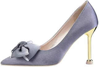 KTYXDE High-Heeled Women's Satin Rubber Fashion Elegant Sexy Stiletto Work Shoes Dress Shoes Spring and Summer 9.5CM 5 Colors Women's Shoes (Color : Gray, Size : EU36/UK3.5/CN35)