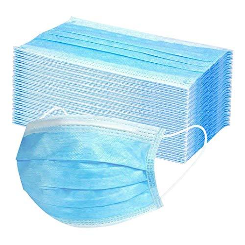 LIZS 300/500 Stück Blau Mundschutz Einweg Erwachsene Mund und Nasenschutz Staubschutz Gesichtsschutz Halstuch ,Stützrahmen,Innenkissen,Nasenpolster,Anti-Beschlag (500)