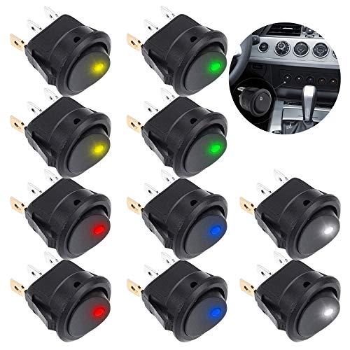 10PCS Wippschalter,Einrastbare runde Schalter, Rocker Toggle Switch,Rocker Schalter,Runde Schalter,12V 20A / 24V 10A,Kippschalter