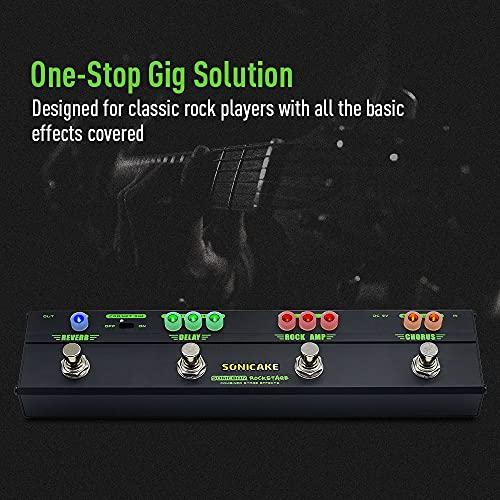 SONICAKE Pedal de Guitarra RockStage Multi Effectos Classic Rock Tone Distorsion Chorus Delay Eco Cab Sim