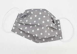 Mund- & Nasenmaske - Sterne Grau Weiß - Baumwollmaske waschbar
