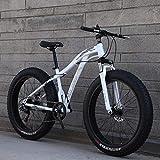 AISHFP 24 Pulgadas Fat Tire Bicicletas de montaña para Adultos, Playa Moto de Nieve, Bicicletas de Doble Freno de Disco Crucero, Bicicleta de montaña para Hombre,Blanco,7 Speed