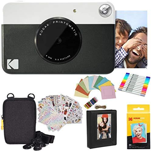 KODAK Printomatic Cámara instantánea (Negro) Paquete de Regalo con Papel fotográfico Zink (20 Hojas) y más