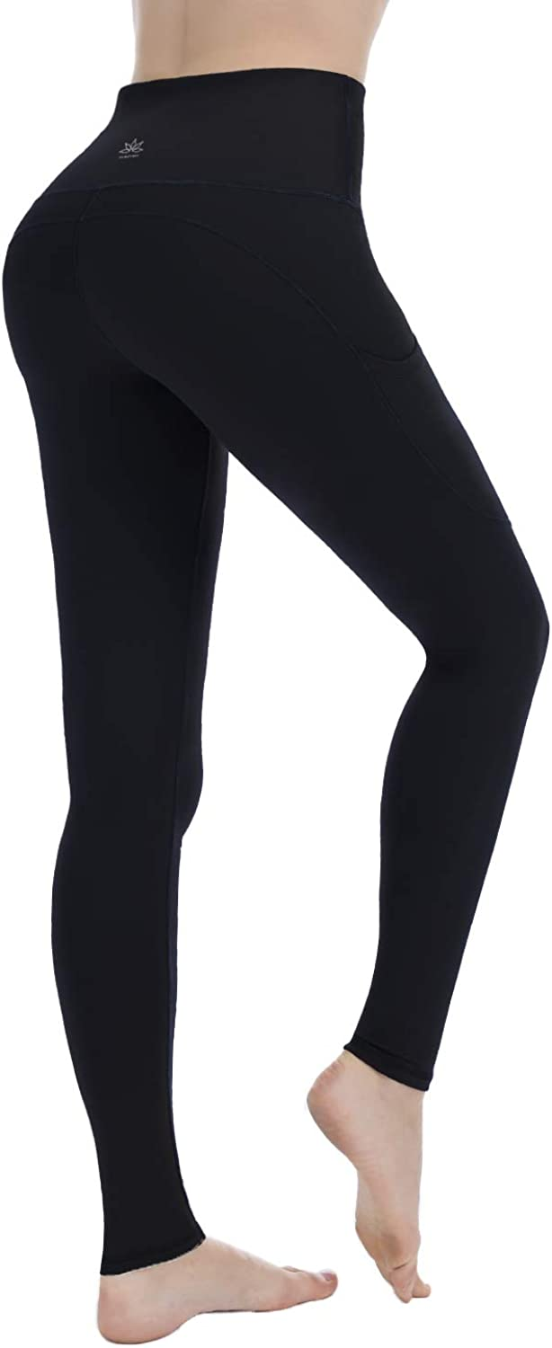 Punzymo High Waist Yoga Pants with Pocket Workout Running Leggings with Tummy Control for Women