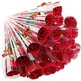 ソープフラワー レッド 赤い バラ 花束 ギフト 薔薇 一輪 ×24本 粗品 お礼 お返し プチギフト (赤)