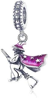 Charm in argento 925 con ciondolo a forma di teschio, per Halloween, casa infestata e zucca, per la creazione di gioielli ...