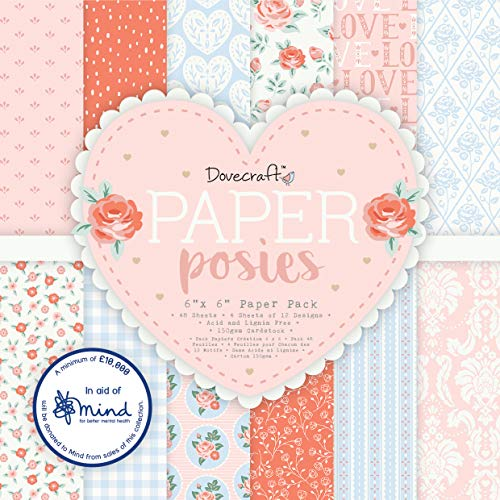 "Dovecraft DCPAP159 Posies 6""x6 Pack – 48 4 Sheets of 12 Designs – 150gsm FSC Paper – Acid & Lignin Free – for Card Making, Papercraft, Journaling, Scrapbooking And More, Multicolour, One Size"