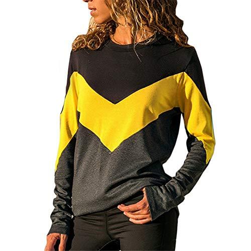Rayas Onduladas Camisas Casual De Manga Larga para Mujer Bolsillos con Cuello Abotonado Botones En La Parte Delantera Camiseta (Yellow, L)