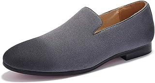 Negocio Oxford para hombres zapatos formales resbalones en gamuza de buey con talón de bloque patente transpirable anti re...