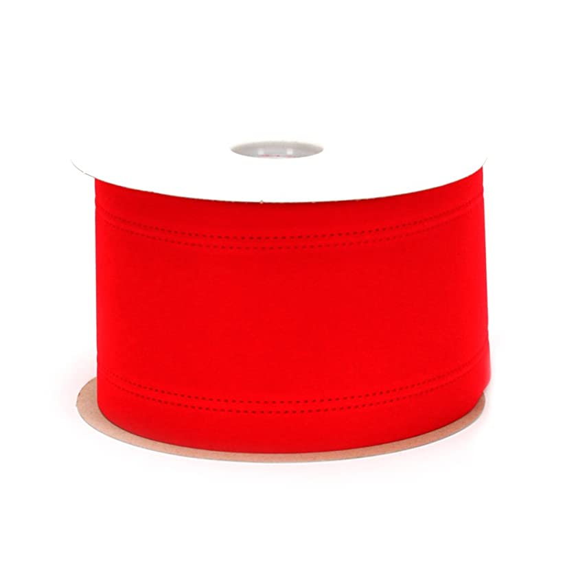 Berwick Wired Edge Veltex Flocked Poly Craft Ribbon, 4-Inch Wide by 20-Yard Spool, Red