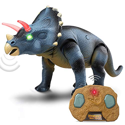STEAM Life Walking Dinosaur Toy - Triceratops Toy Robot Dinosaur Walks, Mouth Moves, Roars and Lights Up - Electronic Dino Toy for Boys and Girls 3 4 5 6 7 Year Old