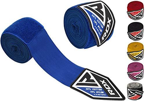 RDX 4,5m de largo Cajas vendas Wraps MMA Elástico Guantes Pulgar cortina 4,5metros 340,19Muay Thai, unisex, color Blue/Blau, tamaño talla única