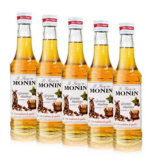 5x Monin Geröstete Haselnuss Sirup, 250 ml Flasche - für Cocktails, zum Kaffee oder Kochen