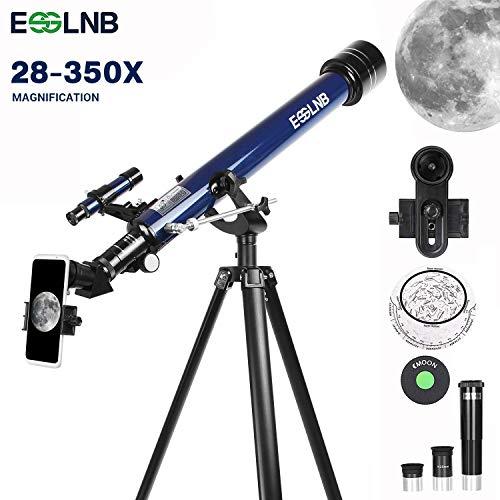ESSLNB Astronomisches Teleskop 60/700 Fernrohr Teleskop Kinder Einsteiger mit 10x Smartphone Adapter Ausziehbares Stativ 3X Barlow und Mondfilter