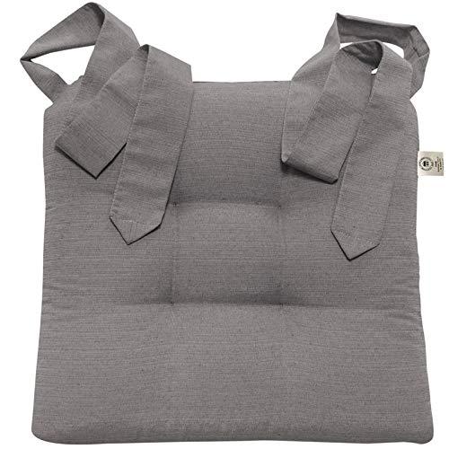 JEMIDI Stuhlkissen Sitzkissen mit Schleifenband Stuhlkissen Esszimmer Schleife Stuhl Kissen Rattanstühe Extra Dick Bequem Leinenlook (Grau)