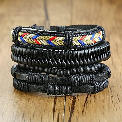FIISH 3/4 Unids/Set Pulseras de Cuero Trenzadas para Hombres Vintage Árbol de la Vida Timón Cuentas de Madera Pulseras Tribales étnicas