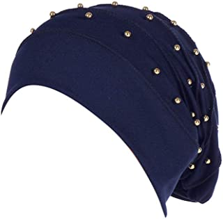 Lmtime Women Solid Color Cap Beading India Hat Muslim Ruffle Cancer Chemo Beanie Scarf Turban Wrap Cap