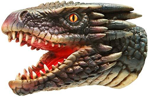 Hanzwa Drachen Handpuppe Realistischer Tierkopf aus Weichem Gummi Geschenke Spielzeug für Kinder