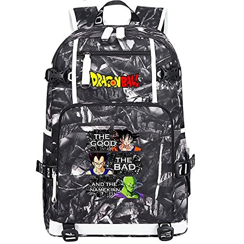 ZZGOO-LL Dragon Ball Son Goku/Vegeta IV/Torankusu Mochila de Anime Mochila de Escuela Secundaria para Estudiantes para Mujeres/Hombres con USB-F