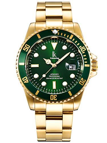 Alienwork Herren Damen Armbanduhr Quarz Gold mit Edelstahl Metallarmband Kalender Datum grün elegant