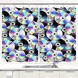 Cortina de Cocina,Disco CD sobre Fondo Negro Discos láser caóticos en Colores neón holográficos, Cortinas Opacas térmicas Forradas para Ventana, 55 x 39 Pulgadas, 2 Paneles, Juego