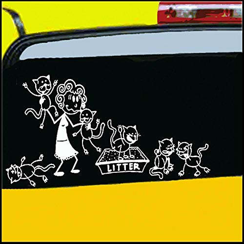Crazy Cat Lady Stick Figure Family Decal can be Applied to Any Surface Funny Vinyl Decal Sticker White in Color No Inks 100% Vinyl 8.5 'x 5.5' …