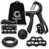 Gonex Grip Strength Trainer Counting Forearm Strengthener Workout Kit (5 Pack), 11-132 Lbs Adjustable Resistance Hand Exerciser, Finger Trainer, Finger Stretcher, Grip Ring & Stress Relief Grip Ball