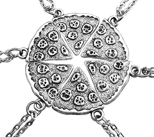 MJartoria Best Friend Necklaces, BFF necklaces for 6 Antique Silver Color Pizza Slice Friendship Necklace Set of 6