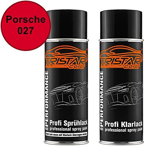 TRISTARcolor Autolack Spraydosen Set für Porsche 027 Indischrot Basislack Klarlack Sprühdose 400ml