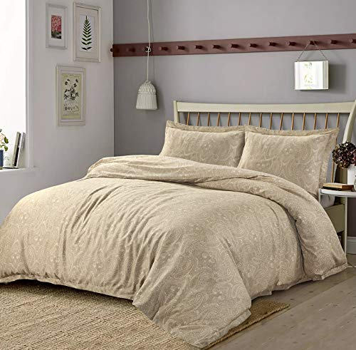 Nimsay Home Okko Luxury Paisley Soft Touch 100% Egyptian Cotton Sateen Duvet Cover Bedding Set (King, Beige)