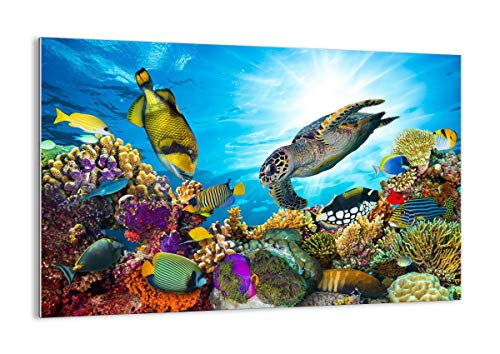 Quadro su vetro - Elemento unico - barriera corallina corallo pesce - 120x80cm - Pronto da appendere - Home Decor - Arte digitale - Quadri Moderni In Vetro - Stampe Da Parete - GAA120x80-3704