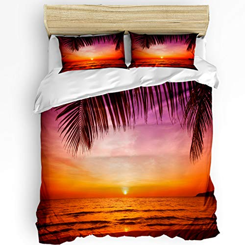 Fandim Fly Comforter Cover Bedding Set 90 x 92 Inch Sunset On The Beach Sunlight Reflection On The Sea Duvet Cover Set Queen Size with Zipper Closure for All Seasons