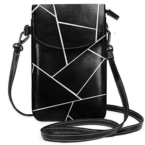 Negro Blanco Geométrico Glam Geo Decor Art Ligero Pequeño Crossbody Bolsas de teléfono celular Monedero para mujeres niñas con práctico transporte