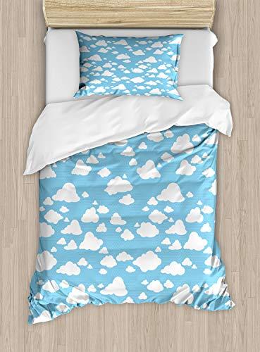 ABAKUHAUS Blauw Dekbedovertrekset, Heldere Hemel van de zomer Pattern, Decoratieve 2-delige Bedset met 1 siersloop, 130 cm x 200 cm, Sky Blue White
