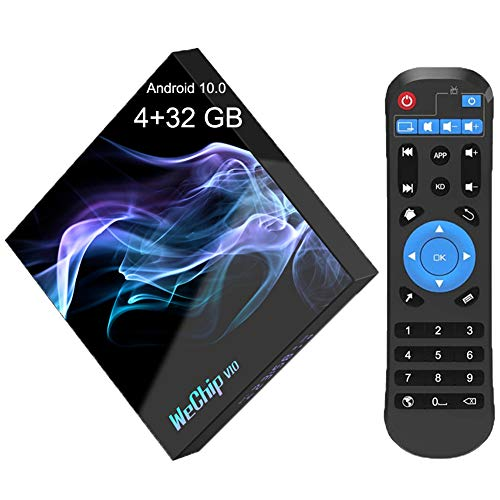 Android TV Box ,WeChip V10 Android 10.0 TV Box 4GB RAM 32GB ROM with Allwinner H616 Quad-Core Supports 2.4G 5G Dual WiFi/BT 5.0 /6K/USB 2.0/3D/H.265 Smart TV Box