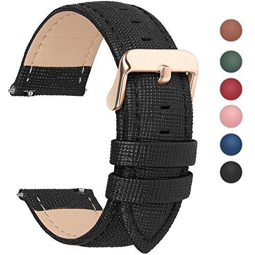 Fullmosa 6 Colores para Correa de Reloj, Cross Piel Correa Huawei Samsung Correa/Banda/Band/Pulsera/Strap de Recambio/Reemplazo 14mm 16mm 18mm 20mm 22mm 24mm,Negro 20mm