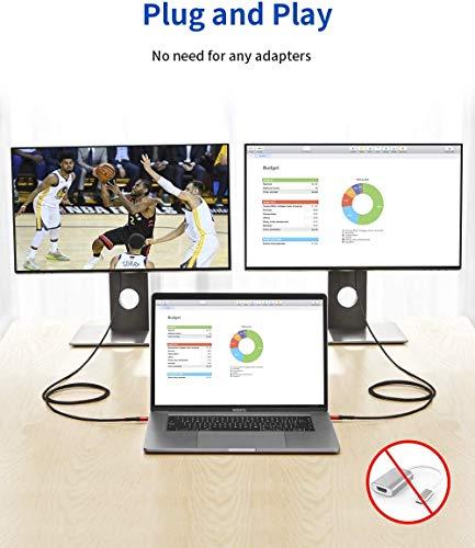 USB C auf HDMI Kabel, JSAUX 4K@60Hz USB 3.1 Type-C auf HDMI, geflochtenes Nylon, kompatibel mit MacBook Pro, Surface Book 2, Samsung S9/S8-4M Rot