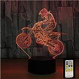 SFSF Veilleuse Motocross Table Illusion à Distance de vélo de Nuit Lampes 7 Couleurs changent Lampe de Bureau USB Lampe Veilleuse Enfants Cadeau