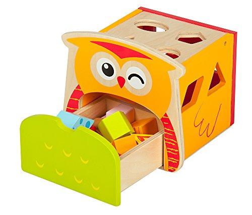 Leomark - Le hibou intelligent, Jouet de Premier Age - Cube de tri de formes / Boîte à formes en bois - Formes à Trier et à Empiler Jeu de Construction