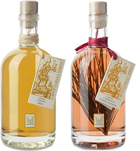 Villa Laviosa 2 Bottiglie Liquore Grappa al Fieno e Cirmolo da 70 cl. Aromatizzata Italiana Erbe Gradazione confezione, Grappa al Fieno e Cirmolo set 2 bottiglie